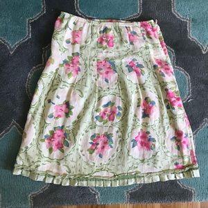 J Jill Floral Linen Skirt Size S Side Zip Elastic